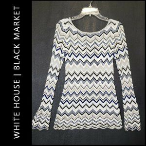 WHBM White House Black Market Women Chevron Blouse
